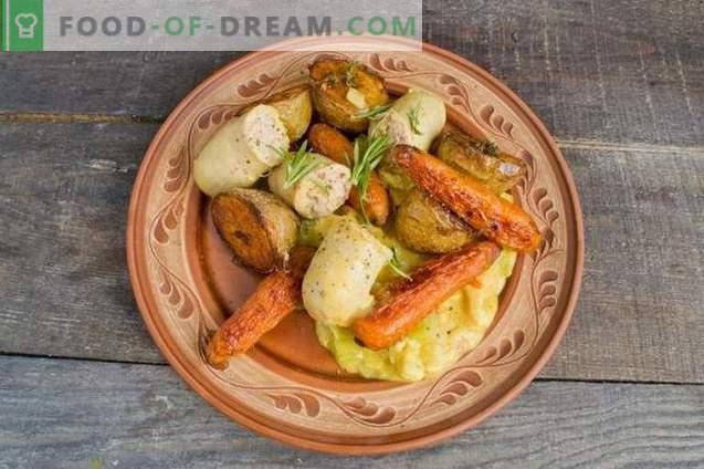 Gulash de pollo con verduras al horno y salchicha