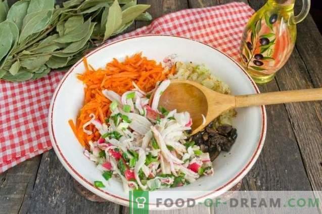 Ensalada de cangrejo con pepino y champiñones