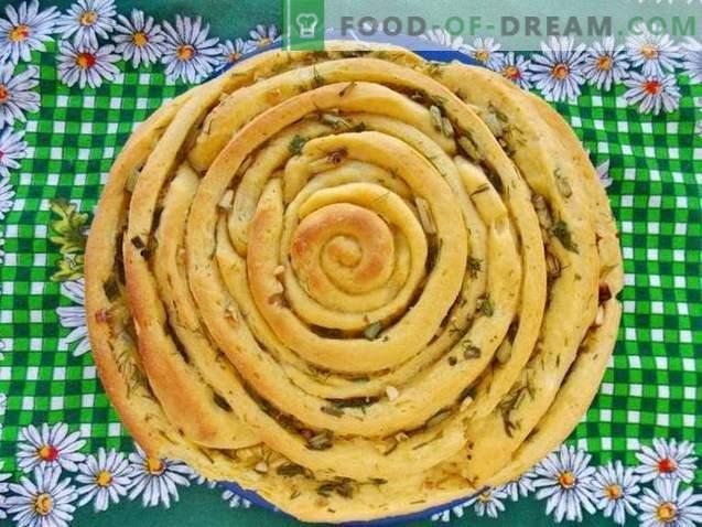 Pan en espiral con hierbas y ajo