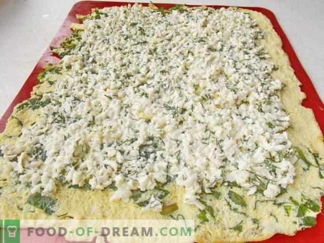 Rollo de tortilla relleno de queso, pescado rojo y verduras