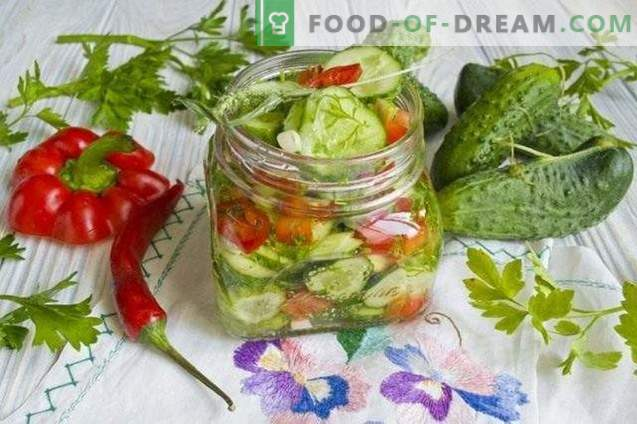 Cucumber salad with bell peppers for the winter