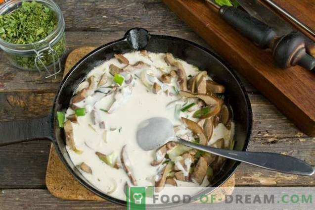Riñones de cerdo en crema agria con cebolla y papas