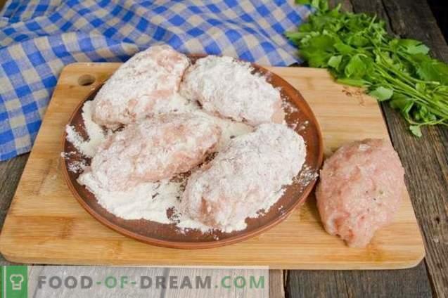 Chuletas de pollo Kiev hechas de carne picada - una opción de cocción fácil
