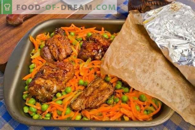 Cerdo con verduras en el horno