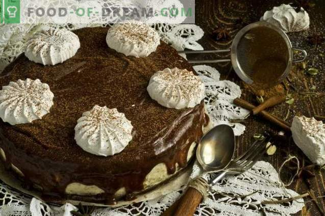 Pastel de chocolate con malvavisco