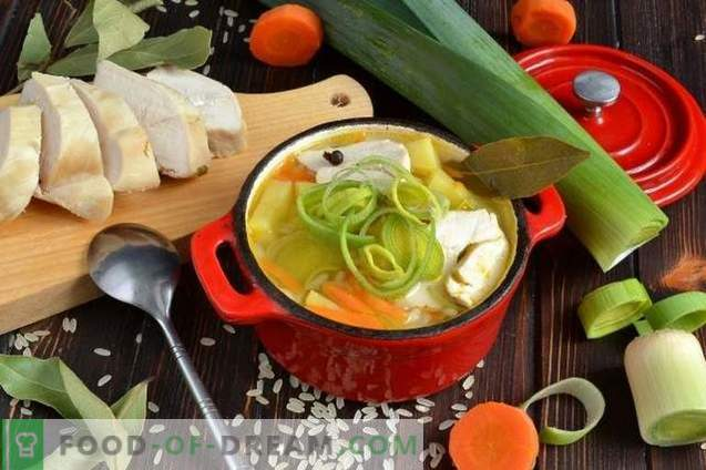 Sopa de arroz con pechuga de pollo y puerro