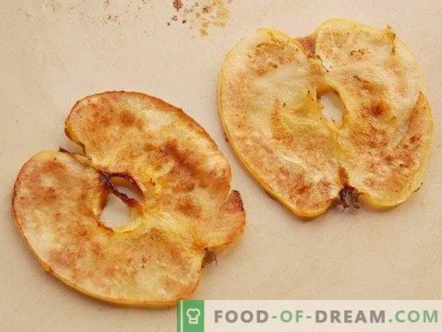 Postre de sopa de manzana con chips de manzana
