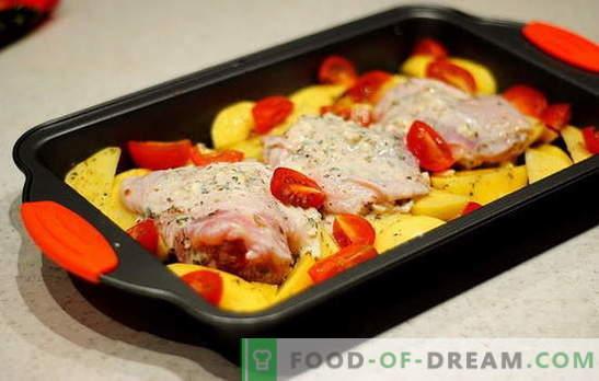 Muslos de pollo con papas en el horno - las mejores recetas. Recetas de pollo al muslo con papas en el horno: en papel aluminio, manga