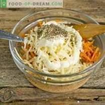 Ensalada de pollo fácil con queso y zanahorias