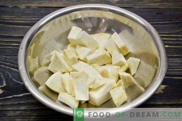 Gnocchi con apio, espinacas y papas