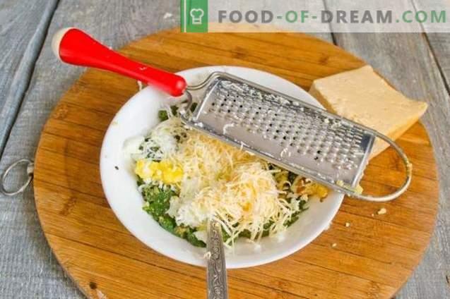 Soplos con espinacas, huevo y queso