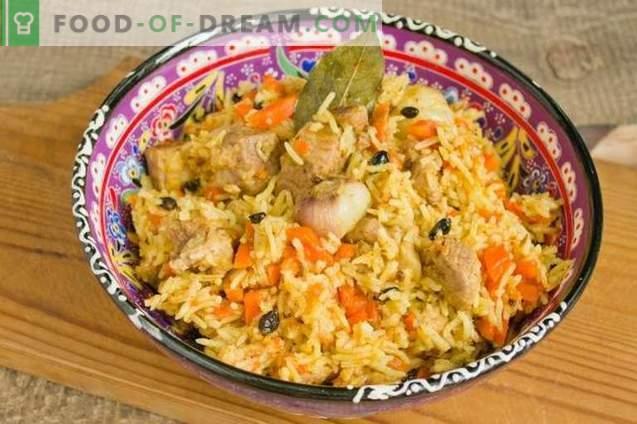 Pilaf delicioso con cerdo en un pato en el plato