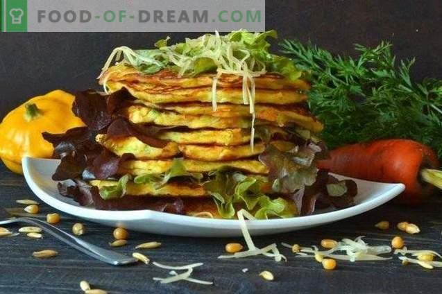 Tortitas de vegetales con patissons y parmesano