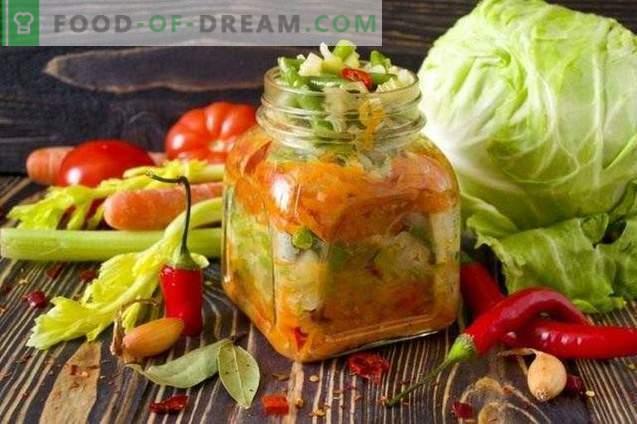 Ensalada de verduras en capas para el invierno