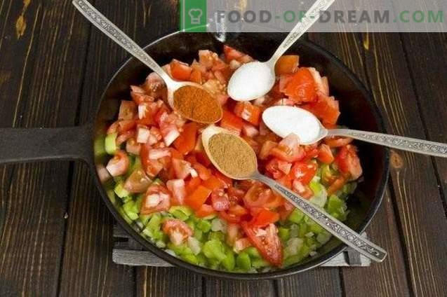 Salsa de pasta con pimientos y tomates