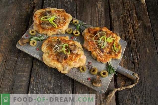 Frituras-kefir pizza - y nutritiva y rápida