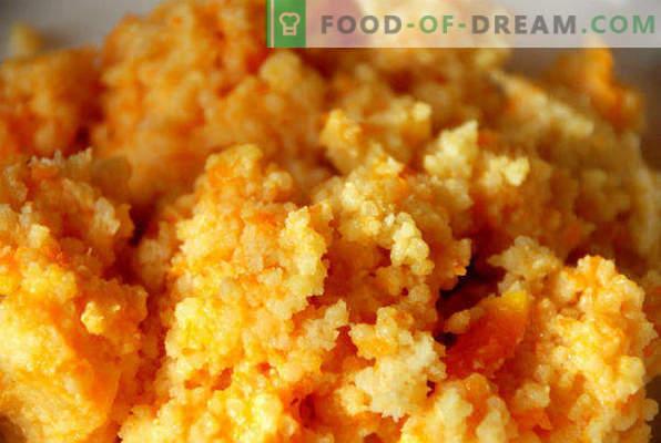 Gachas de mijo con calabaza en una olla de cocción lenta, recetas con manzanas, carne, frutas secas, miel