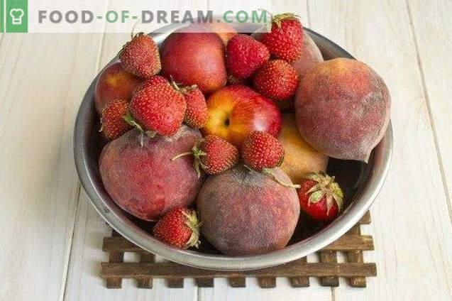 Mermelada de bayas de melocotones, fresas y nectarinas