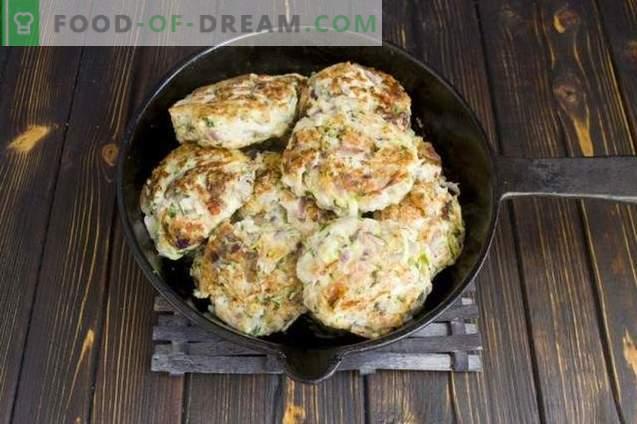 Chuletas de pollo con champiñones y calabacín