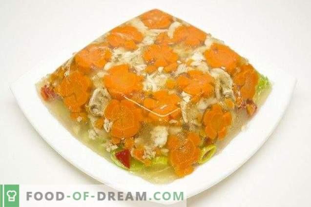 Pollo en gelatina con puerro y pimiento dulce