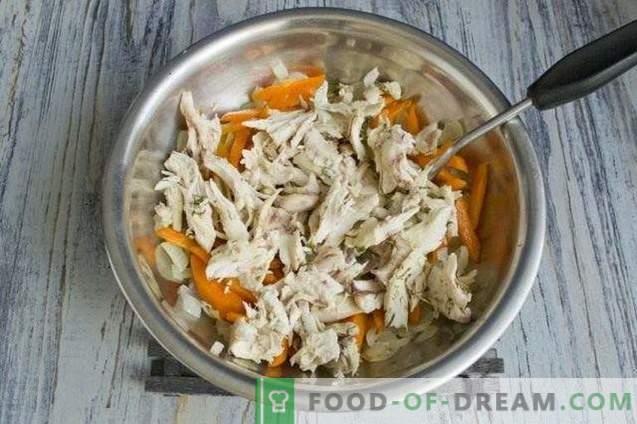 Pastel de champiñones con pollo y verduras