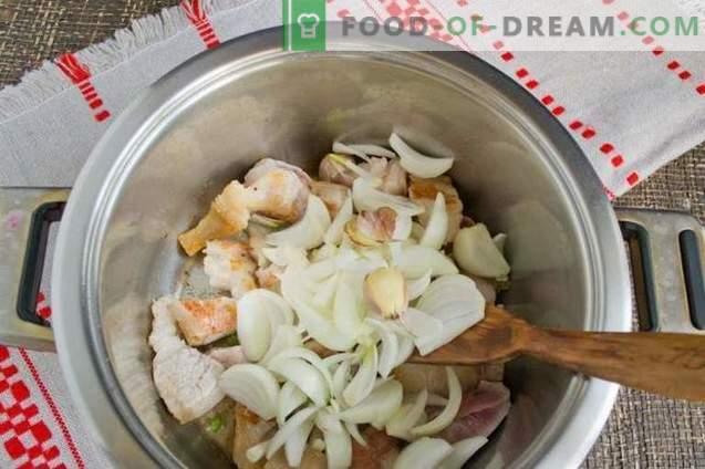 Gachas de cebada con carne - Pilaf de cebada bielorruso