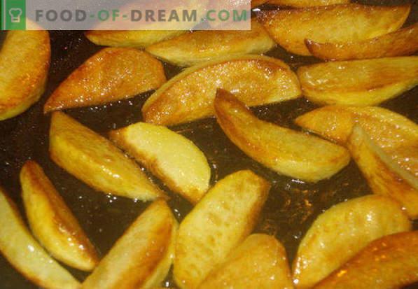 Cómo freír papas en una sartén con una corteza dorada, cebollas, carne, champiñones