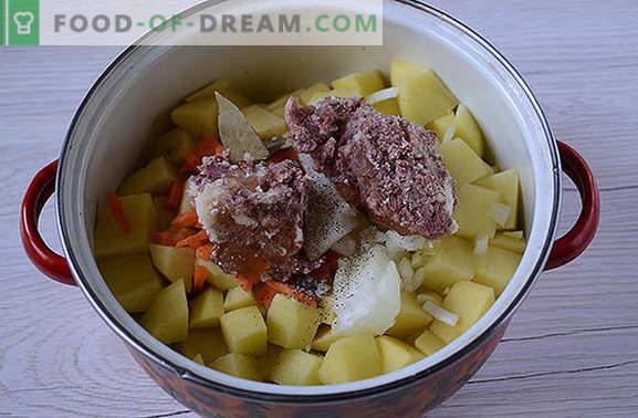 Das klassische Rezept für Kartoffeln mit Fleischkonserven: Der Geschmack der Küche des Sowjets. Wie man banale Kartoffeln mit köstlichem Eintopf zubereitet: ein Rezept für Schritt mit Fotos