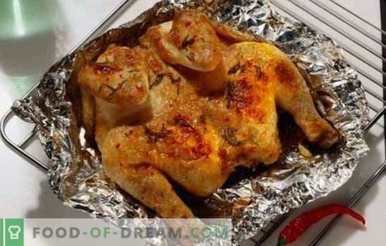 Pollo fragante y jugoso en papel de aluminio en el horno: de forma rápida, sencilla y sabrosa. Cocinar pollo en papel de aluminio en el horno - recetas paso a paso