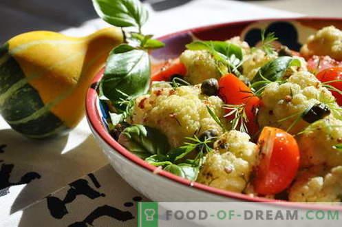 Ensalada de coliflor - las mejores recetas. Cómo preparar correctamente y sabrosa ensalada de coliflor cocida.