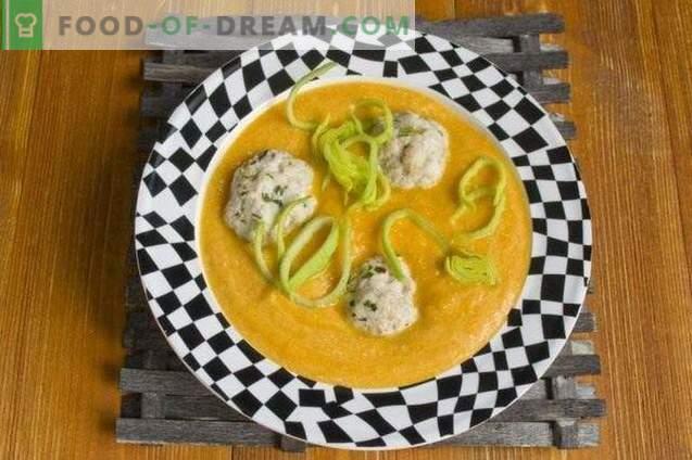 Sopa de verduras con albóndigas de pollo