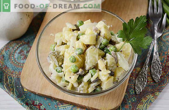 Ensalada de papas con champiñones: un plato completo para un almuerzo o cena de verano. Receta fotográfica paso a paso de ensalada de papas con champiñones