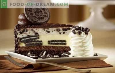 Blanco y negro es pastel de Oreo. En busca de una refinada armonía de sabor: recetas de bizcochos de esponja Oreo y shortcake (con fruta, chocolate, cuajada)