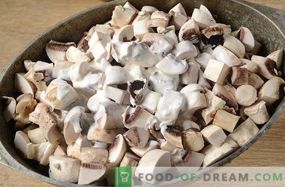 Patatas con champiñones en el horno con crema agria - un plato aromático y nutritivo. Receta fotográfica paso a paso del autor de papas al horno con champiñones
