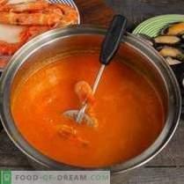 Sopa crema brillante con mariscos