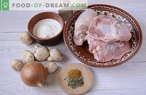 Stewed chicken with mushrooms: cook fragrant thighs for the holiday and every day. Author's step by step photo-recipe for cooking chicken with mushrooms in sour cream