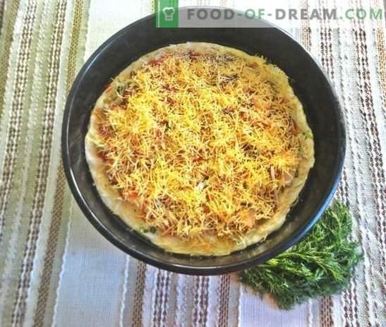 Pizza im Ofen: ein Rezept mit Fotos. Italienischer Teig, appetitliche Füllung - hausgemachte Pizza im Ofen: Schritt für Schritt Foto-Rezept
