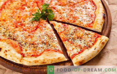 Original and various variants of classic Margherita pizza. How to make pizza