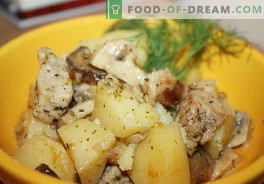 Patatas guisadas con pollo - las mejores recetas. Cómo cocinar correctamente y sabroso cocinar las papas con pollo.