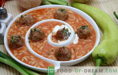 Soup with meatballs and rice is a real find for a tasty lunch. Recipes for soups with meatballs and rice