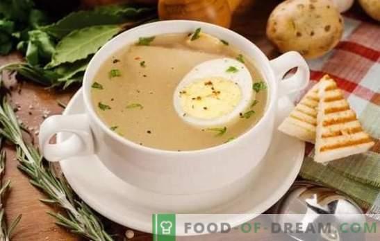 El caldo de huevo es un primer plato fácil y es fácil de preparar. Variantes de caldo con huevo de caza, pescado, pollo y ternera