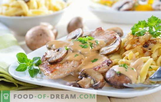 Cerdo con papas y champiñones: frito, al horno, estofado. Variaciones interesantes de cocinar papas con cerdo y champiñones