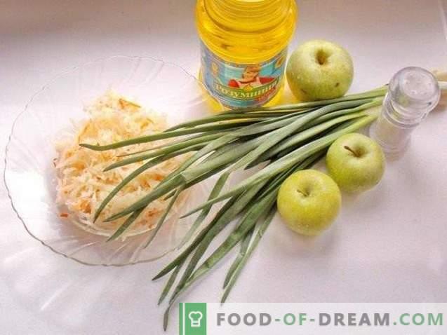 Ensalada de chucrut con manzana y cebolla verde