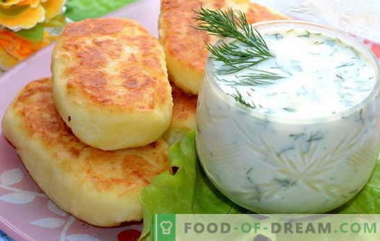Empanadas de patata trituradas - una gran cena. Chuletas de puré de papas con salchicha, arenque, carne picada, champiñones
