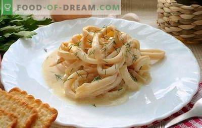 Lignji v kisli smetani so sočna školjka. Lignji recepti v omaki s kislo smetano z zelenjavo, sir, gobe, česen, paradižnik