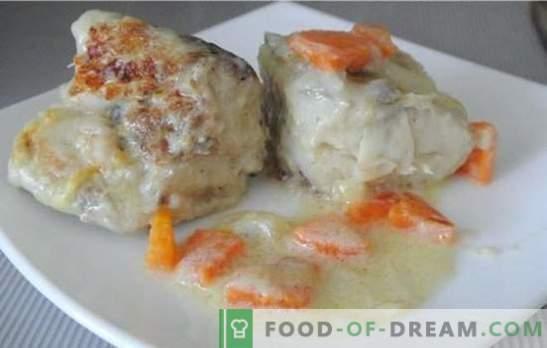Abadejo en crema agria o vino, con cebollas, queso, papas y perro de piel! Las mejores recetas de estofado de abadejo en crema agria