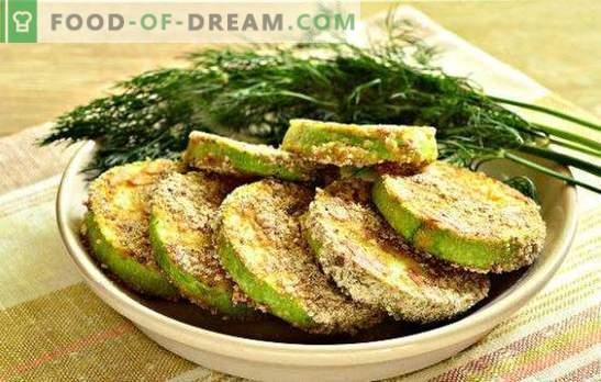 Calabacín en la masa de ajo - un bocadillo salado. Calabaza frita en una sartén con ajo en crema agria, cerveza, kéfir y huevo batido