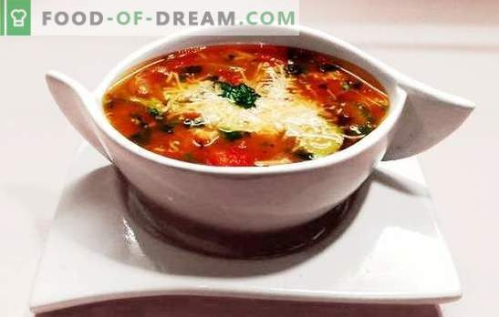 Sopa minestrone - ¡Hola desde la soleada Italia! Recetas de sopa minestrone con pasta, tocino, champiñones, frijoles, queso parmesano