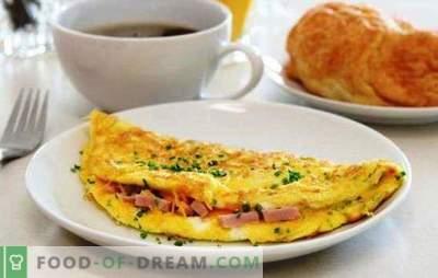 Huevos revueltos con salchicha en una sartén - un desayuno sencillo. Recetas de tortillas en una sartén con salchicha y queso, tomates, tocino, verduras