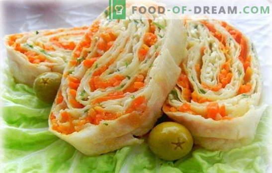 Lavash roll con zanahorias coreanas: simple, sabroso y saludable. Variantes de rellenos para rollos de pan de pita con zanahorias coreanas